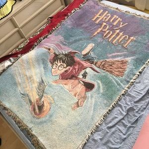 Warner Bros. Bedding - Vtg Harry Potter Quidditch Fringe Throw Blanket